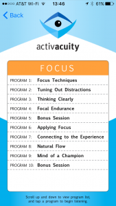 focus programs in activacuity