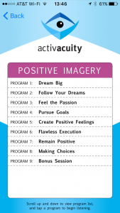 positive imagery programs in activacuity