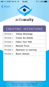 creating intentions program in activacuity