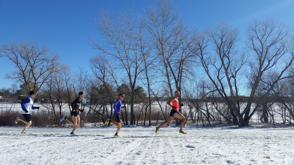 Joe Gray leads a xc race in Boulder, photo courtesy Boulder Running